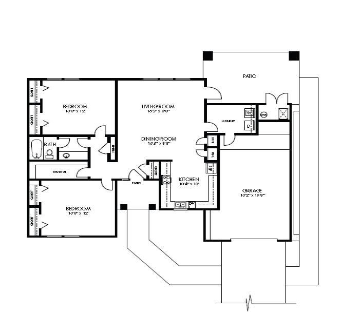 Heritage Heights 2 bedroom floor plan